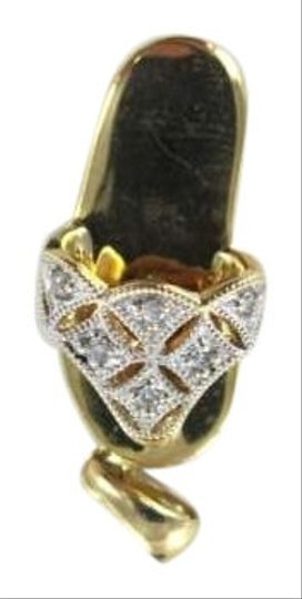 Vintage 14KT YELLOW GOLD PENDANT SHOE 1.2DWT SANDAL 6 DIAMOND CARAT CHARM FINE JEWELRY