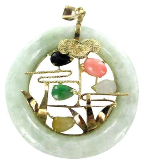 Preload https://img-static.tradesy.com/item/350581/yellow-gold-14kt-pendant-jade-circle-donut-stones-sign-designer-jadeite-necklace-0-0-540-540.jpg
