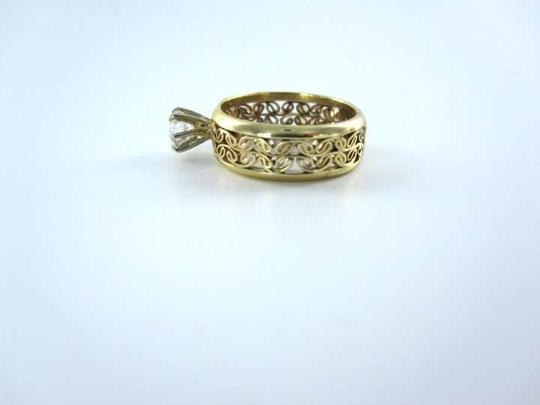 vintage 14K YELLOW GOLD 1 DIAMOND 45AW RING WEDDING BAND SZ5.5 FINE JEWELRY 2.5DWT FINE