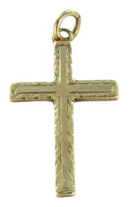 14KT YELLOW GOLD PENDANT CROSS 0.3DWT ESSEMCO CHRISTIAN CATHOLIC CHRIST CHURCH