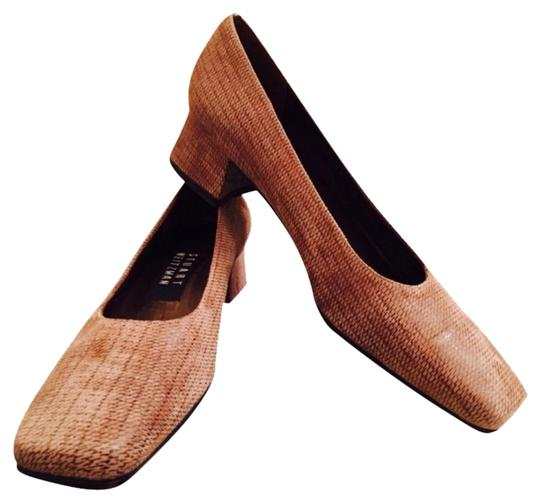 Stuart Weitzman Flats Suede Square Toe Narrow Taupe Pumps