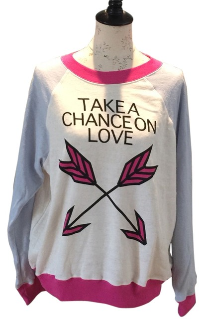 Preload https://item2.tradesy.com/images/wildfox-whitepink-take-a-chance-sweaterpullover-size-8-m-3506416-0-0.jpg?width=400&height=650
