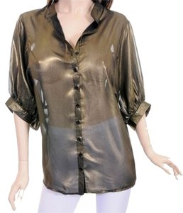 Angela Collection Top olive metallic sheen