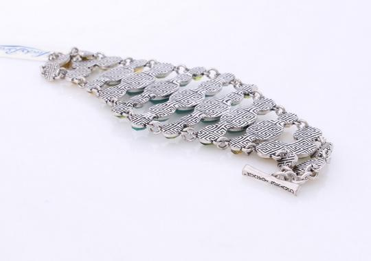Lucky Brand New! Lucky Brand Bracelet Green Stones Wide Toggle JLRY0042 Silver Tone