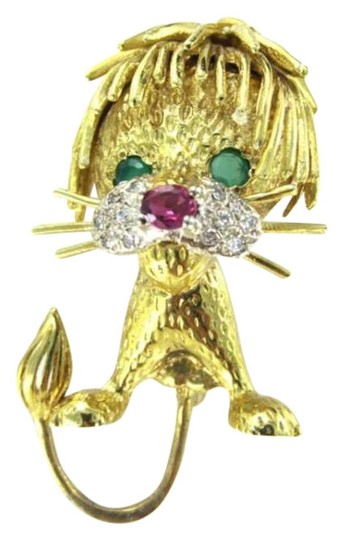 Vintage 18KT YELLOW GOLD PIN BROOCH LION RUBY EMERALD 12 DIAMOND 11.8DWT FINE JEWELRY