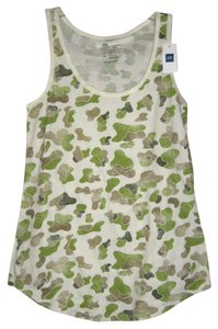 Gap Casual Comfortable Military Summer Spring Top Green, Brown and Ivory