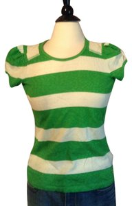 Juicy Couture T Shirt Green and white stripe