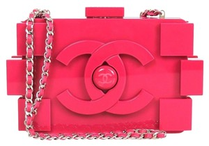 Chanel Fuschia Plexiglass Lego Pink Clutch