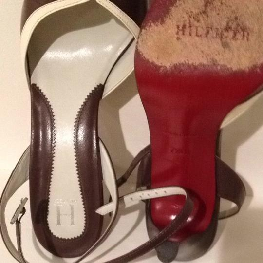 Hilfiger Couture The H Collection All Leather Red Sole Chic Bargain Chocolate/bone Pumps