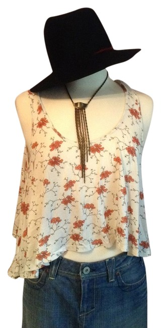 Blue Life Top cream floral