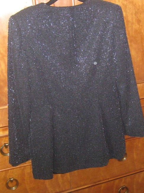 Niteline Black lightly fitted fully beaded dressy jacket