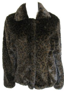 Merona New Faux Fur Leopard Print Black Jacket With Tag Women L Large 12 14 Nwt Tall Long Sleeve Winter Soft Fall Fake Animal Fur Coat