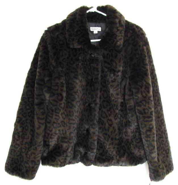 Merona New Faux Leopard Print Black Jacket With Tag Women L Large 12 14 Tall Long Sleeve Winter Soft Fall Fake Animal Fur Coat