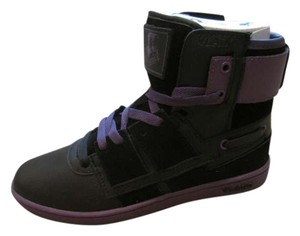 Vlado Fashion Sneaker Kicks Trainer Leather Suede Sporty High Tops Black / Purple Athletic