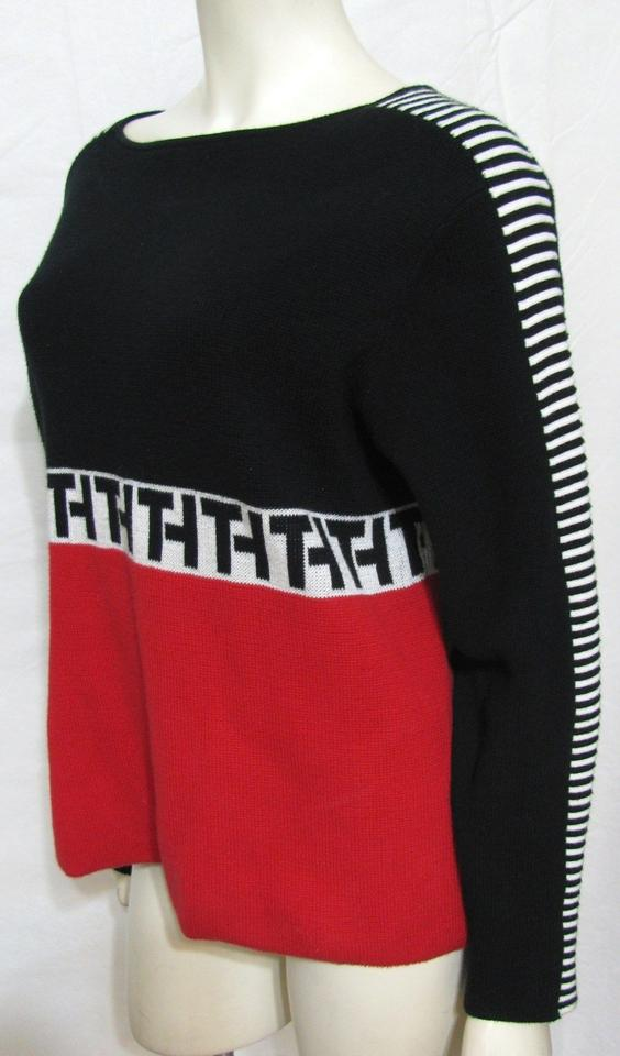 tommy hilfiger black red white th logo sweater pullover. Black Bedroom Furniture Sets. Home Design Ideas