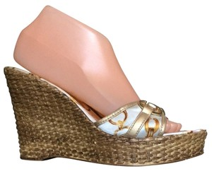 Italian Footwear White Gold Multi Wedges