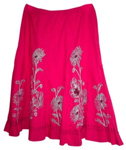 Sunny Leigh Embroidered Full Sweep Cotton Floral Skirt red