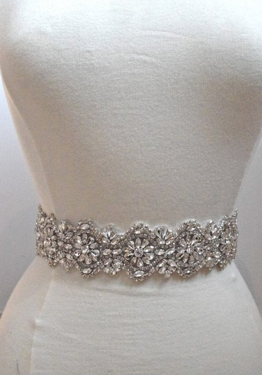"Ivory Crystal Rhinestone Belt - 18"" Of Trim On Light Ribbon Sash"
