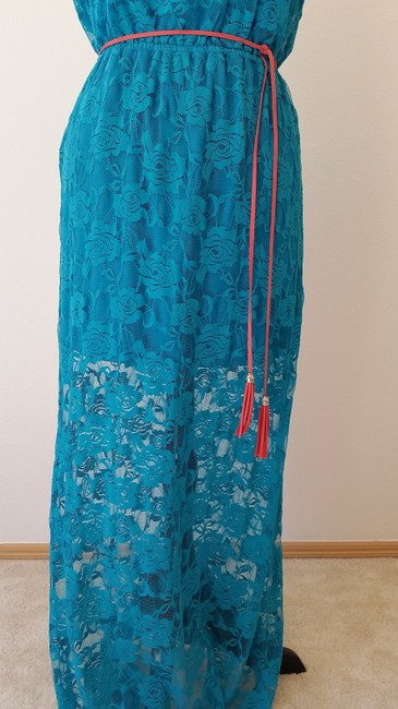 Turqouis Maxi Dress by Just For Wraps Lace Strapless