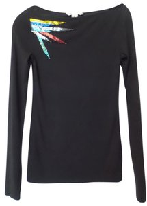 BCBGeneration Bcbg Max Azria Knit Long Sleeve Bugle Bead Top Black w/ Multi-color Detail