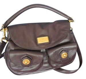 Marc by Marc Jacobs Leather Gold Hardware Satchel in Burgundy