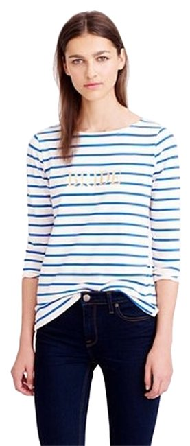 J.Crew Top Ivory And Blue