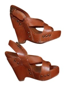 Ash Leather Studded Tan Wedges