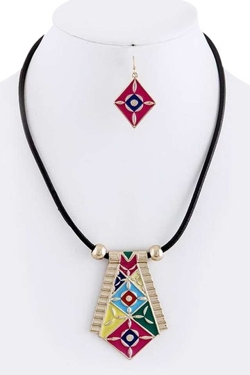Unknown Tribal Inspired Pendant Cord Necklace Set
