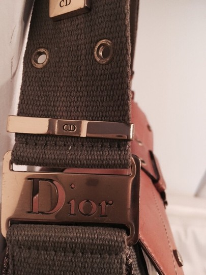 Dior Vintage Leather Canvas Shoulder Bag