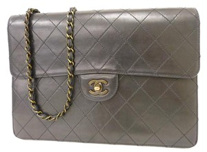 Chanel Twist Lock Leather Calfskin Gold Shoulder Bag