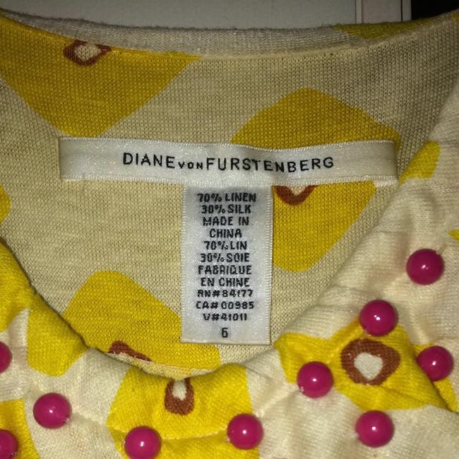 Diane von Furstenberg short dress Yellow/cream With Blue And Brown Accents. Multi Pattern on Tradesy