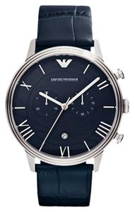 Emporio Armani Emporio Armani Men's Blue Leather Silver Tone Stainless Steel Chronograph Watch AR1652