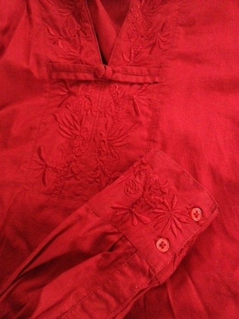 French kuff Embroidery On Cuffs And On Front Opening Monkey Fist Buttons On Cuffs And One On Front Top red