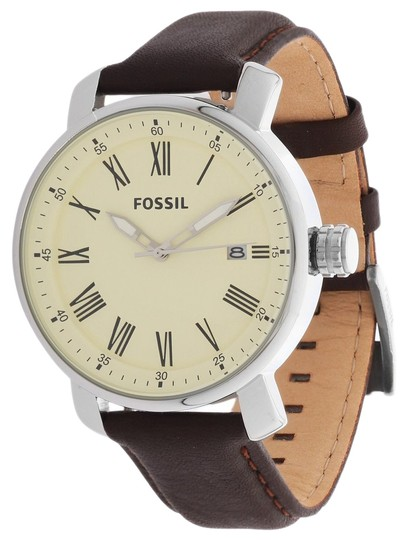 Fossil Fossil Men's Rhett Brown Leather Cream Dial Silver Tone Stainless Steel Watch BQ1016