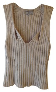 Saint Laurent Ysl Knit Plunge Sleeveless Sweater
