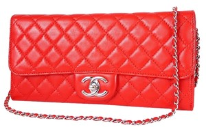 Chanel Evening Special Occasion Chain Red Clutch