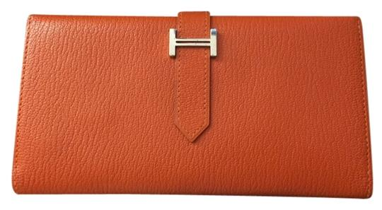 Hermès Hermes Bearn wallet parme Gold Hardware chevre leather.