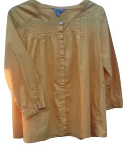 Bitten by Sarah Jessica Parker Cotton Longsleeve Buttonup Front At Cuff Top gold