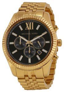 Michael Kors Michael Kors Lexington Chronograph Black Dial Gold-tone Mens Watch