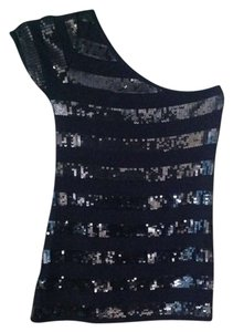 boutique Holiday Party Top Black with black and silver sequins