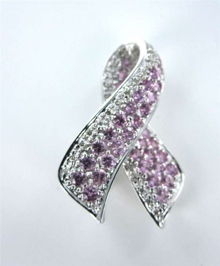 Vintage 14KT WHITE GOLD PIN BROOCH PINK SAPPHIRE BREAST CANCER AWARENESS 2.8DWT DIAMOND