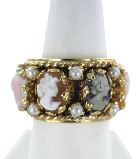 Vintage 14KT YELLOW GOLD CAMEO ETERNITY RING SZ 7 ANTIQUE VINTAGE CARVED CORAL SEA PEARL