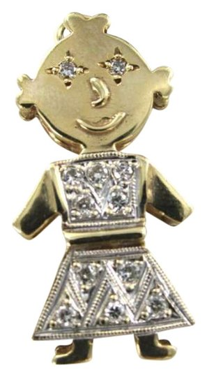 Vintage 14KT YELLOW GOLD 3D PENDANT LITTLE GIRL CHARM 2.5DWT 12 DIAMOND .18CT CHILDREN