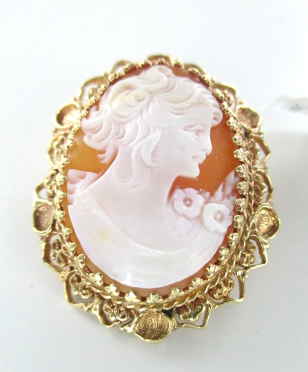 Other 14KT YELLOW GOLD CAMEO PENDANT FILIGREE CARVED SHELL