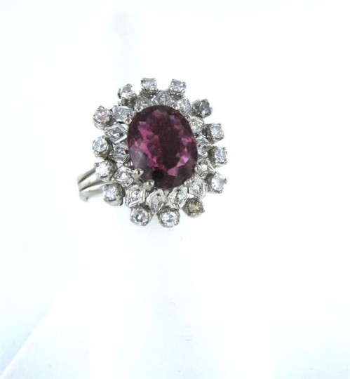 Vintage 14KT WHITE GOLD RING PINK TOURMALINE 14 DIAMONDS ANTIQUE 3.2DWT VINTAGE SZ 7.5