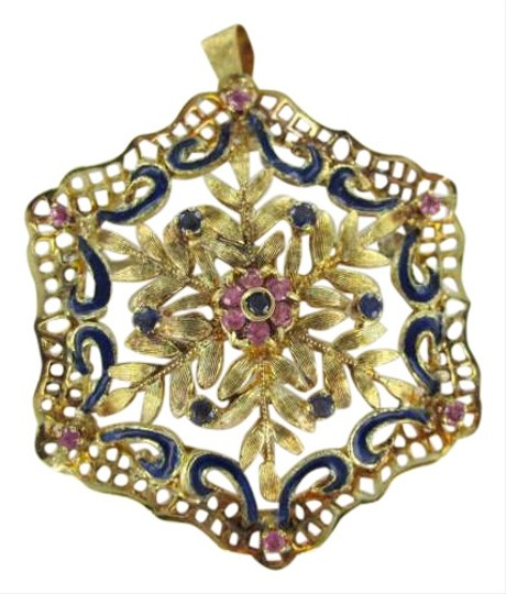 Preload https://item3.tradesy.com/images/yellow-gold-18kt-pendant-charm-sapphire-italy-pin-brooch-snowflake-351507-0-0.jpg?width=440&height=440