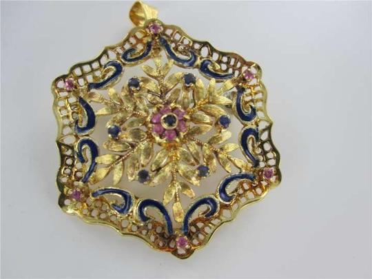 Vintage 18KT YELLOW GOLD PENDANT CHARM SAPPHIRE ITALY PIN BROOCH SNOWFLAKE VINTAGE