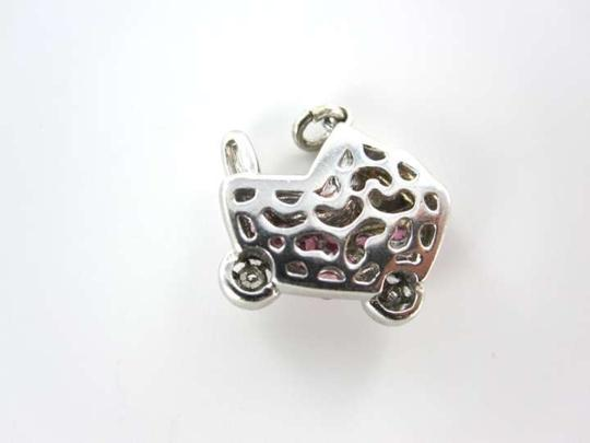 Vintage 14KT WHITE GOLD PENDANT BABY CARRIAGE NEWBORN MOTHER DAY PINK STONES 2 DIAMOND