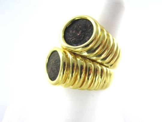 Vintage 18KT YELLOW GOLD RING 2 ROMAN COIN ANTIQUE SZ 8 BYPASS 11.8DWT WIDE VINTAGE