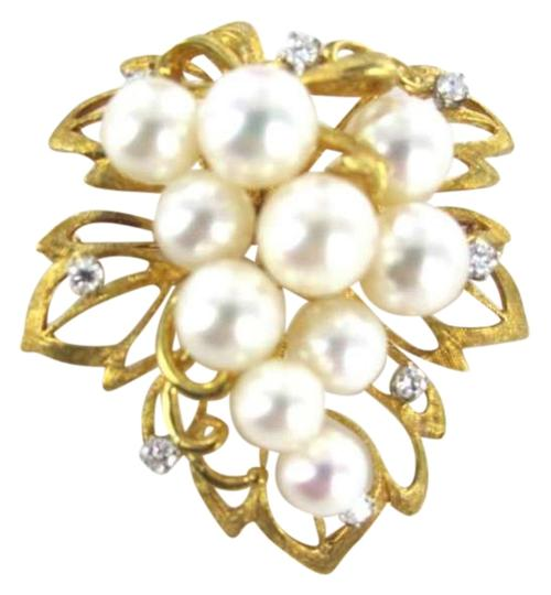 Vintage 18KT YELLOW GOLD PIN BROOCH GRAPE PEARL LEAVES DIAMOND VINE VINTAGE VINE 8.8DWT